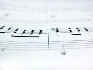 Music education - Sheet Music Notes close up ** Note: Shallow depth of field
